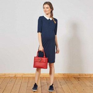 Платье с закругленным отложным воротничком для беременных - синий