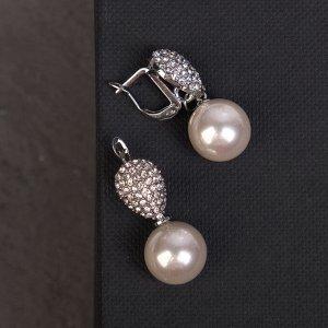"""Серьги с жемчугом """"Грейс"""" капля и сфера, цвет белый в серебре"""