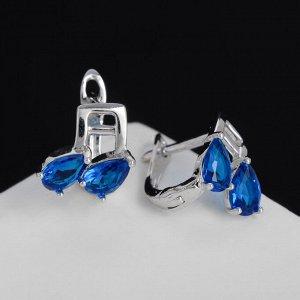 """Серьги со стразами """"Ноты"""", цвет синий в серебре"""
