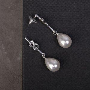 """Серьги с жемчугом """"Грация"""" бусина на двойном узелке, цвет белый в серебре"""