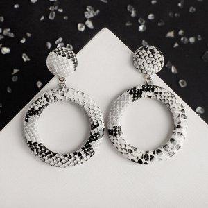 Серьги ассорти Animal круг и кольцо, цвет чёрно-белый