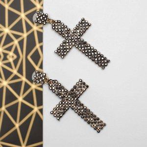 """Серьги со стразами """"Кресты"""" три ряда, цвет коричневый"""