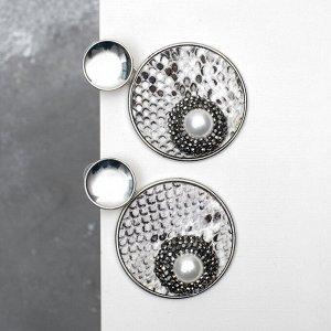 Серьги ассорти Animal круги с жемчугом, цвет чёрно-белый в серебре