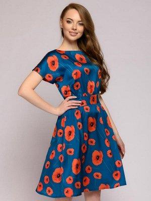 Платье цвета морской волны длины мини с цветочным принтом