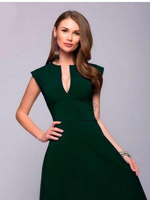 Платье зеленое длины макси с глубоким декольте