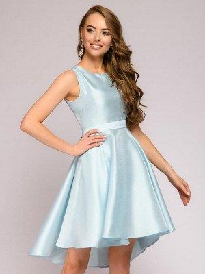 Платье голубое с пышной юбкой без рукавов