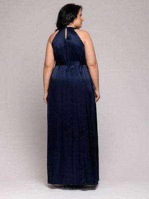 Платье темно-синее длины макси с защипами на горловине и боковым разрезом