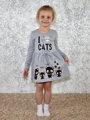 Платье серое Черные котята.Длинный рукав.