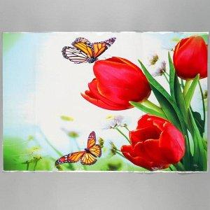 """Наклейка на кафельную плитку """"Красные тюльпаны и бабочки"""" 90х60 см"""