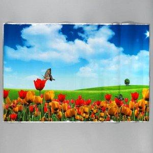 """Наклейка на кафельную плитку """"Поле с тюльпанами"""" 90х60 см"""