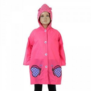 """Дождевик детский """"Розовые бабочки"""" рост.100-110 см, р-р.М,на кнопках с капюшоном"""