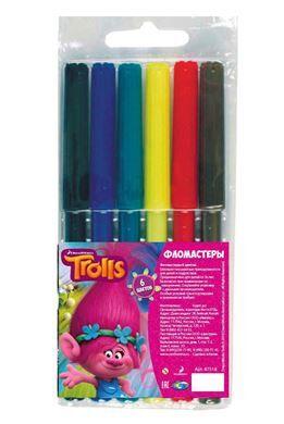 """Фломастеры """"Тролли"""", 6 цветов, арт.87518"""