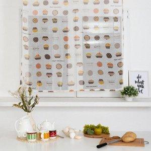 Тюль для кухни Этель 110х130 см «Маффин»
