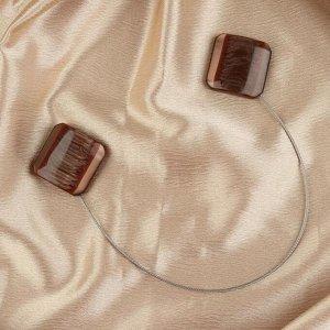 Подхват для штор «Квадрат перламутровый», 4 ? 4 см, цвет кофейный
