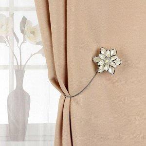 Подхват для штор «Георгин». d = 6 см. цвет серебряный/белый