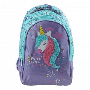 Рюкзак школьный Hatber Sreet 42 х 30 х 20, для девочки Dream unicorn, бирюзовый/сиреневый