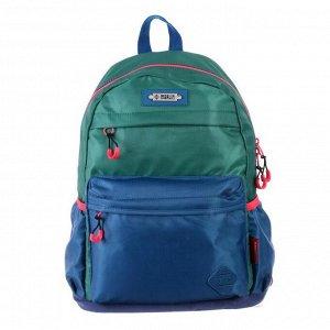 Рюкзак молодёжный, Merlin, 43 x 30 x 18 см, эргономичная спинка, зелёный/синий
