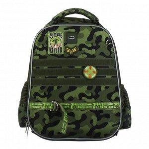 Рюкзак каркасный Hatber Ergonomic light 38 х 29 х 16, для мальчика Zombi Killer, зелёный