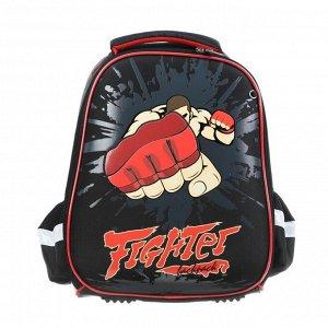 Рюкзак каркасный Hatber Ergonomic light 38 х 29 х 11, для мальчика Fighter, чёрный