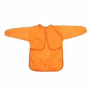 Фартук-накидка с рукавами для труда 610х440 мм Calligrata 3 кармана, оранжевый, рост 120-140 см, длина рукава 34 см