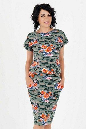 Платье Платье свободного силуэта. Выполнено из хлопкового эластичного трикотажного полотна. Круглый вырез горловины. Цельно кроеный рукав 22 см. Пояс на широкой резине. С карманами. Без застёжки. Без