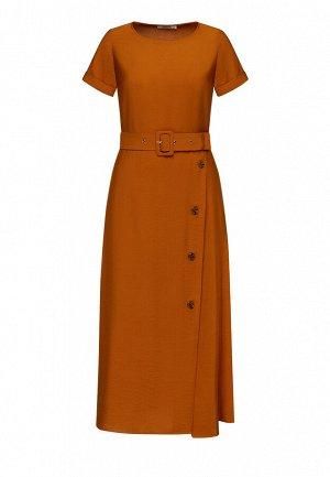 Длинное платье с поясом, цвет коричневый