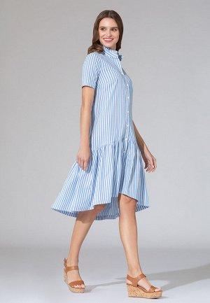 Платье в полоску, цвет светло-голубой