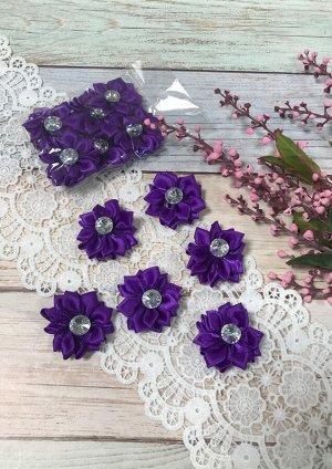 Цветочек атласный фиолетовый со стразиком 4см набор 6шт