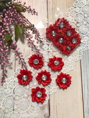 Цветочек атласный красный со стразиком 4см набор 6шт