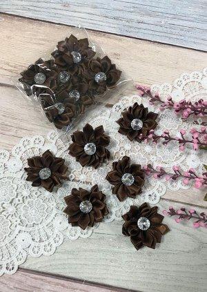 Цветочек атласный коричневый со стразиком 4см набор 6шт
