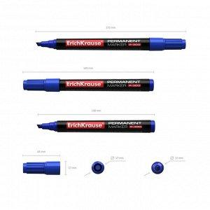 Маркер перманентный 0.5-4.6 мм Erich Krause P-300 синий, наконечник скошенный, чернила на спиртовой основе светостойкие, водостойкие без ксилола