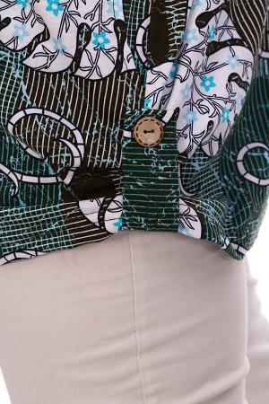 Туника Бренд: Натали Ткань: кулирка Состав: 100% хлопок Женская туника свободного силуэта выполнена из 100% хлопчатобумажного трикотажного полотна. V - образная горловина обработана окантовкой. Спущен