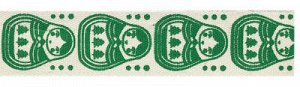 Лента декоративная с рисунком Матрешки зеленые 16мм 3м
