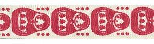 Лента декоративная с рисунком Матрешки красные 16мм 3м