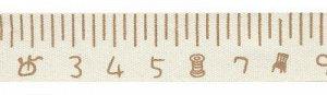 Лента декоративная с рисунком Сантиметр коричневый 16мм 3м