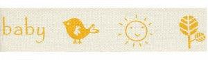 Лента декоративная с рисунком A pretty baby желтый 16мм 3м
