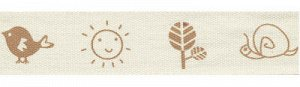 Лента декоративная с рисунком A pretty baby коричневый 16мм 3м