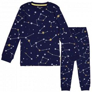Пижама для мальчика, синий звёздное небо
