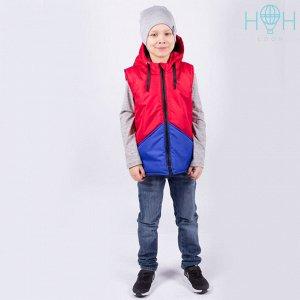 Двухцветный жилет с прорезными карманами, красный/синий