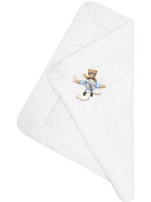 """Конверт-одеяло на выписку """"Мишка пилот"""" (белое, принт без кружева)"""