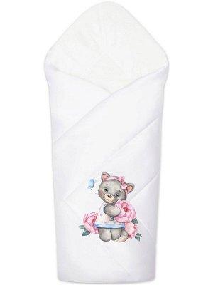 """Конверт-одеяло на выписку """"Милая киска"""" (белое, принт без кружева)"""