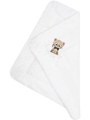 """Конверт-одеяло на выписку """"Котик"""" (белое, принт без кружева)"""