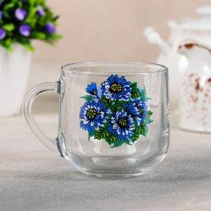 Кружка 300 мл «Синяя хризантема»