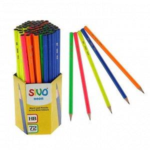 Карандаш чернографитный Sivo HB Neon, шестигранный, МИКС х 4 вида, дисплей