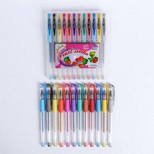 Набор гелевых ручек, 12 цветов, с блестками, с резиновым держателем, в пластиковой коробке