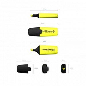 Маркер текстовыделитель 0.6-5.2 мм Erich Krause Visioline Mini, желтый, флуоресцентные чернила на водной основе