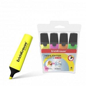 Набор маркеров текстовыделителей 4 цвета 0.6-5.2 мм Erich Krause V-12, цвет чернил: жёлтый, зелёный, розовый, голубой