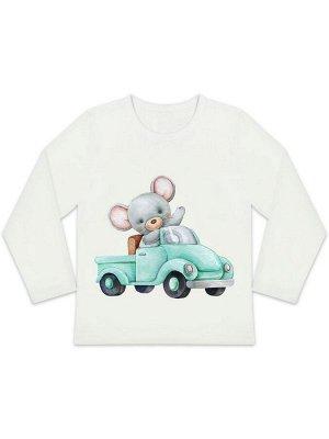 """Лонгслив """"Мышонок на машинке"""" для малышей"""