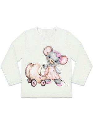 """Лонгслив """"Мышка с коляской"""" для малышей"""