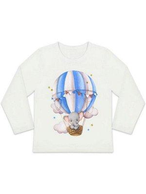 """Лонгслив """"Слоненок на воздушном шарике"""" для мальчика малыша"""
